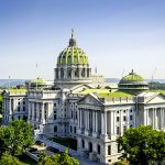 The State Capitol Building In Downtown Harrisburg  Pennsylvania Usa